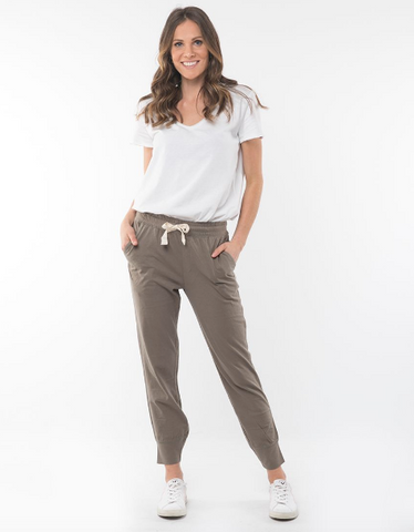 Elm Wash Out Lounge Pant- Khaki - HyperLuxe Activewear