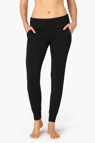 Beyond Yoga Cozy Fleece Foldover Long Sweatpant- Black