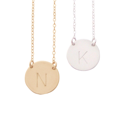 Misuzi The Chloe Initial Disc Necklace- Gold