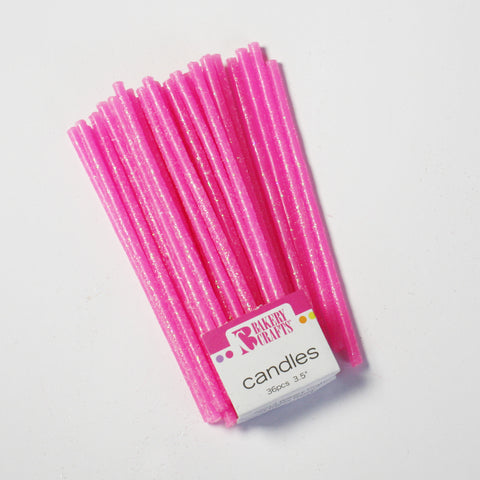 Slim Glitter Neon Pink Candles