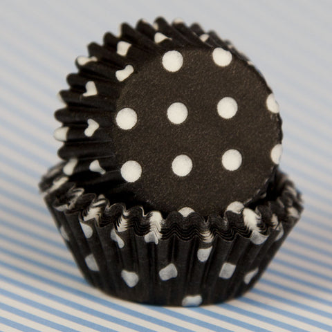 Mini Black Polka Dot Baking Cups