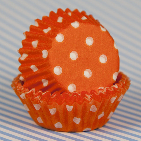 Mini Orange Polka Dot Baking Cup