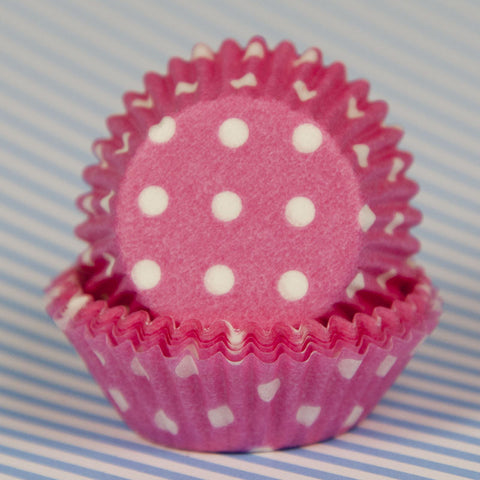 Mini Pink Polka Dot Baking Cups