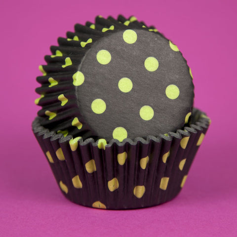 Hot Dots – Black & Lime Baking Cups