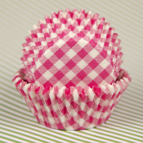 Hot Pink Gingham Baking Cups