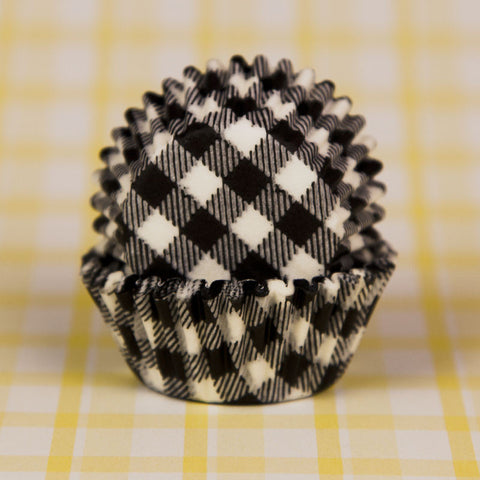 Mini Black Gingham Baking Cups
