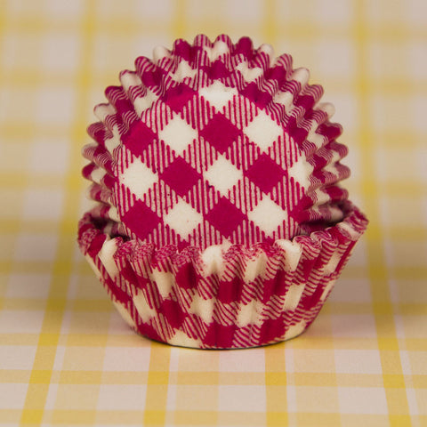 Mini Pink Gingham Baking Cups