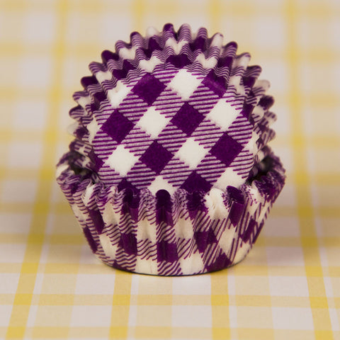 Mini Purple Gingham Baking Cups