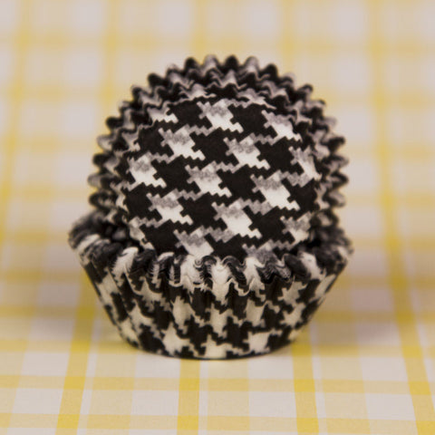 Mini Black Houndstooth Baking Cups