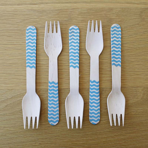 Wooden Forks–Blue Chevron x10