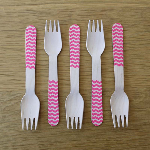 Wooden Forks-Pink Chevron x10