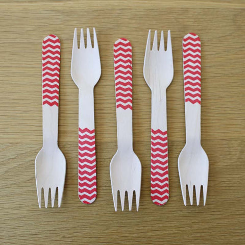 Wooden Forks-Red Chevron x10