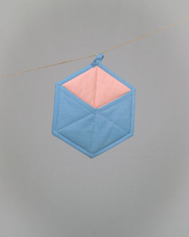 Hexagonal Pott Mitt - Blue/Pink