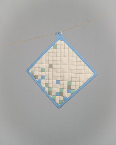 Square Pott Mitt - Blue Grid