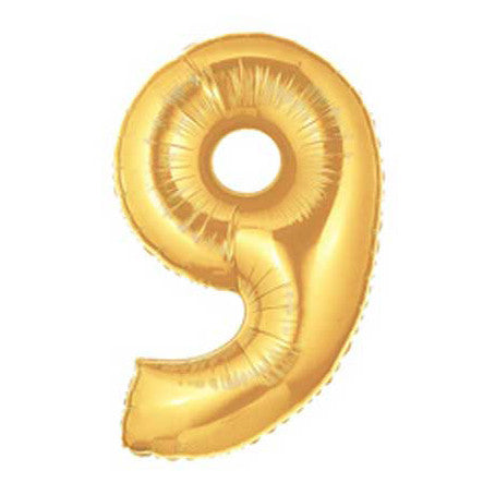 Giant Number Balloon - Gold 9