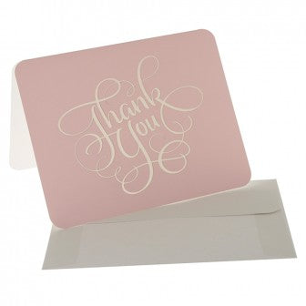 10 x Thank You Cards - Pink/Gold