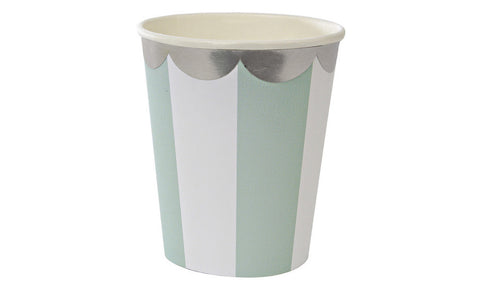 Cups – Mint & White Stripe
