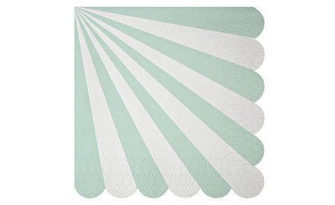 Napkins – Scolloped Mint & White Stripe
