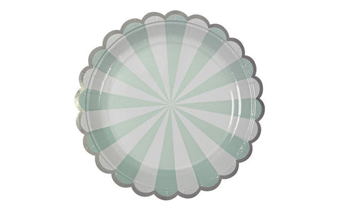 18cm Mint & White Scalloped Plates