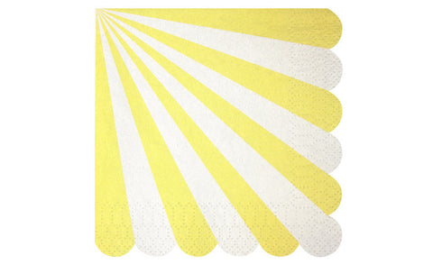 Napkins – Scalloped Yellow & White Stripe