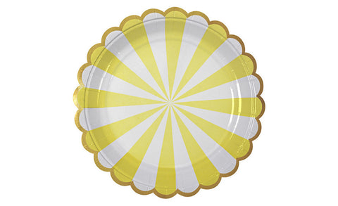 18cm Yellow & White Scalloped Plates