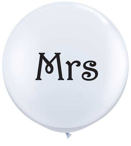 Giant 90cm Balloon - White 'Mrs'