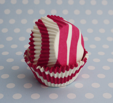 Hot Pink Zebra Stripe Baking Cups