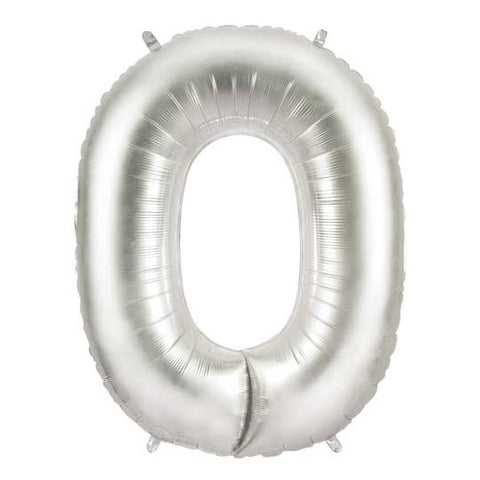 Giant Number Balloon – Silver 0