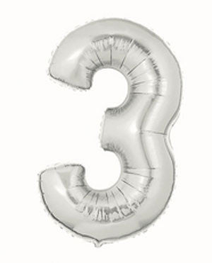 Giant Number Balloon – Silver 3