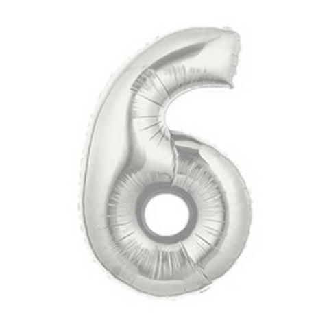 Giant Number Balloon – Silver 6