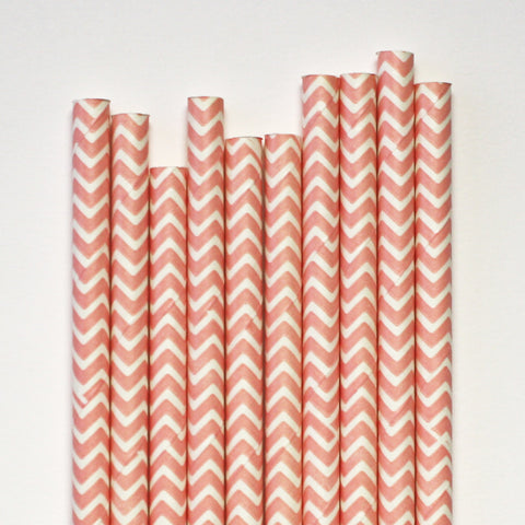 Light Pink Chevron Paper Straws
