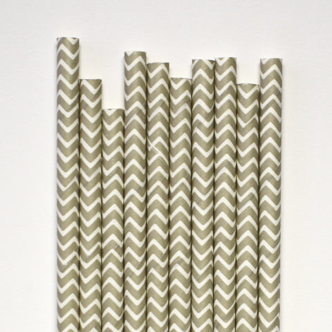 Grey Chevron Paper Straws