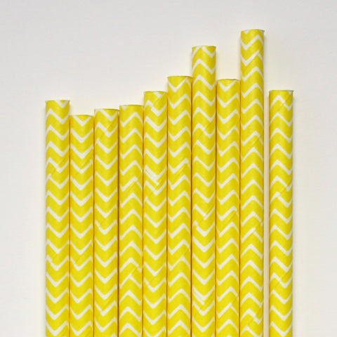Yellow Chevron Paper Straws