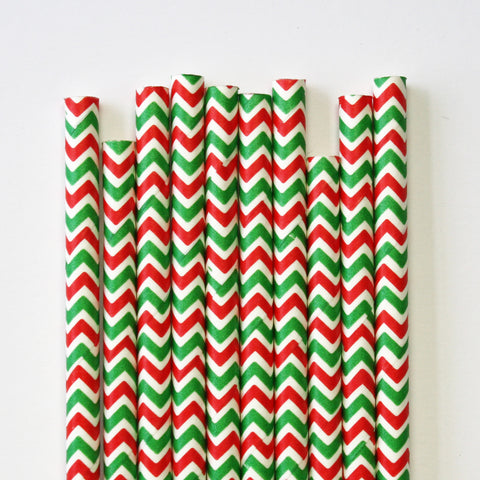 Christmas Chevron Paper Straws