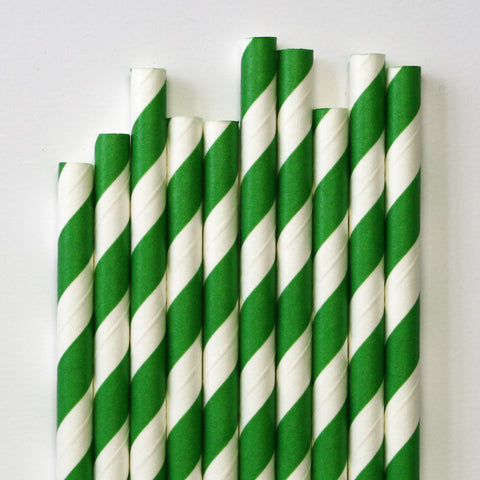 Kelly Green Stripe Paper Straws