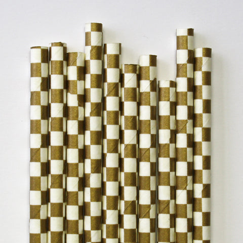 Metallic Gold Checkered Paper Straws