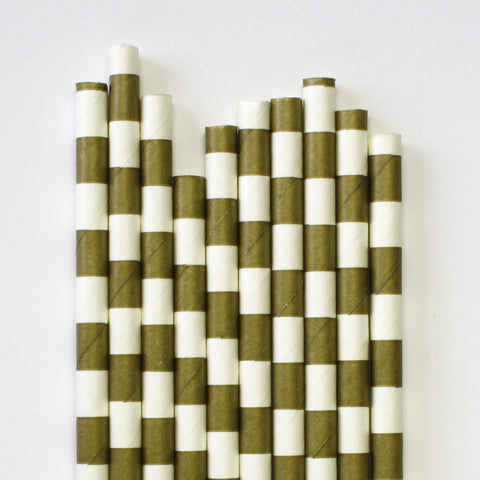 Metallic Gold Band Paper Straws