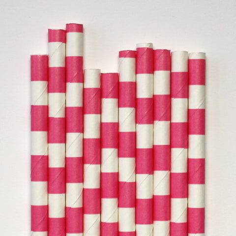 Pink Band Paper Straws