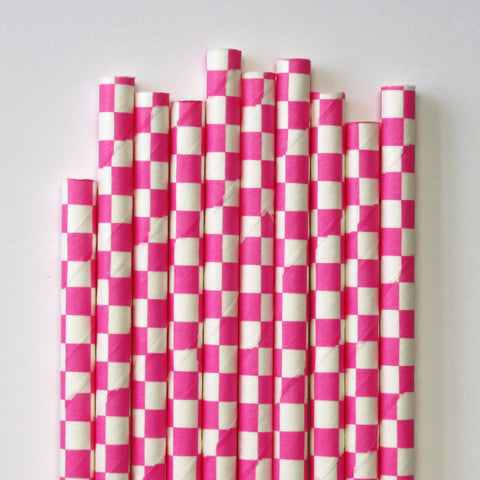 Hot Pink Checkered Paper Straws