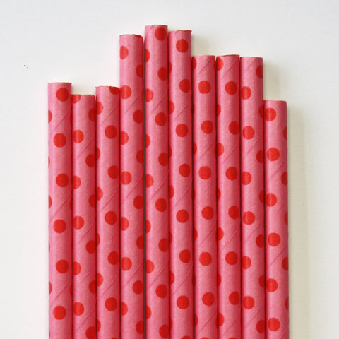 Hot Pink & Red Swiss Dot Paper Straws