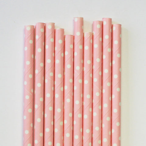 Mini Dot Pink Paper Straws