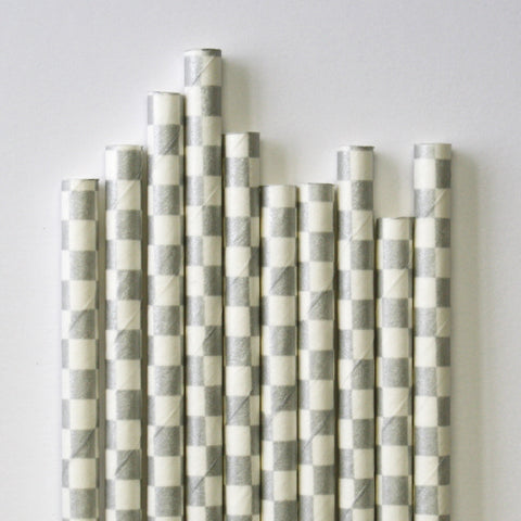 Metallic Silver Checkered Paper Straws