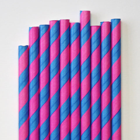 Hot Pink & Malibu Blue Stripe Paper Straws