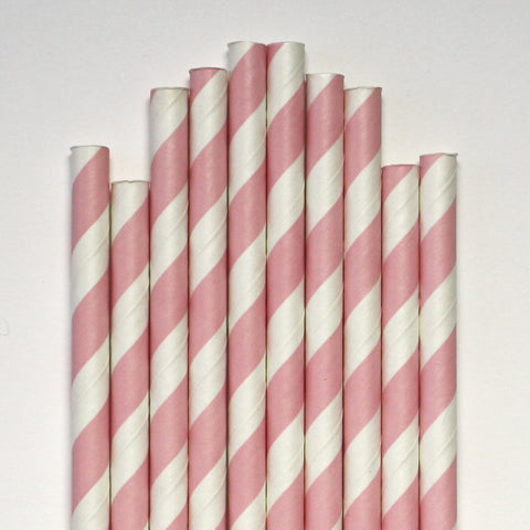 Light Pink Stripe Paper Straws
