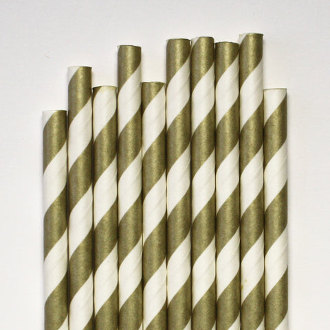 Metallic Gold Stripe Paper Straws
