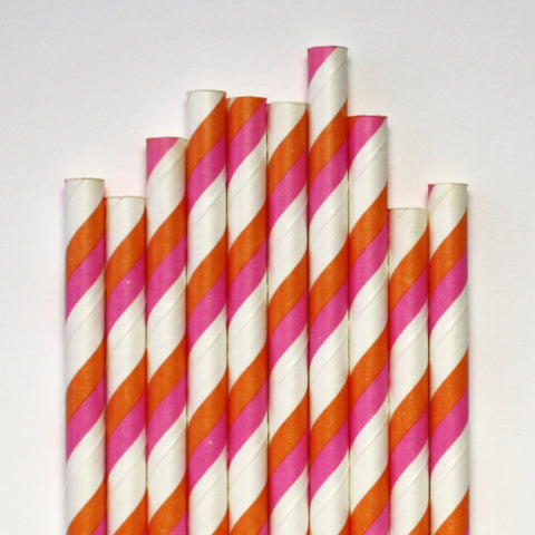 Pink & Orange Stripe Straws