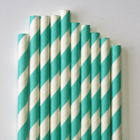 Teal Stripe Paper Straws