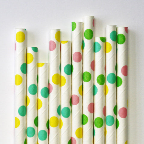 Rainbow Dot Paper Straws