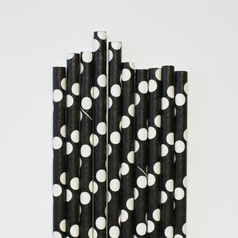 Black & White Dotty Paper Straws