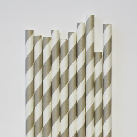 Grey Stripe Paper Straws